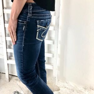 Silver Suki Slim Bootcut Fluid Jeans Dark Wash